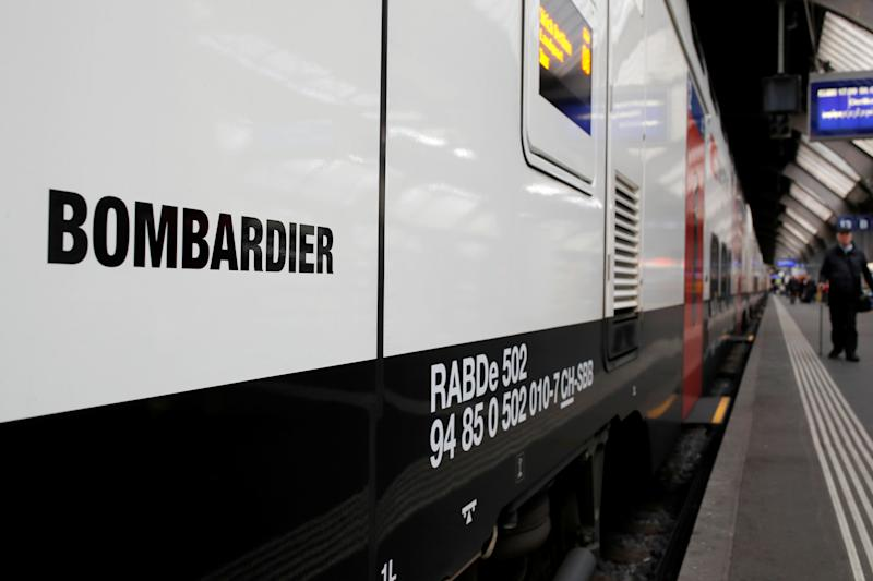 "The Bombardier FV-Dosto double-deck train ""Ville de Geneve"" of Swiss railway operator SBB is seen at the central station in Zurich, Switzerland April 29, 2019. REUTERS/Arnd Wiegmann"