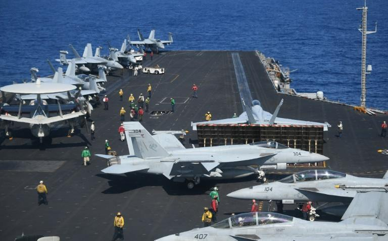 The US aircraft carrier Theodore Roosevelt in the South China Sea in 2018: the new administration of President Joe Biden intends to continue challenging China's territorial claims in the region
