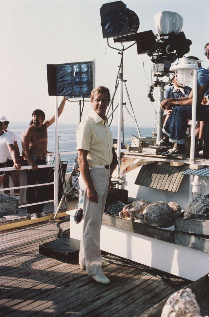 <p>Roger Moore as 007 on the set of the James Bond film 'For Your Eyes Only', February 1981. </p>