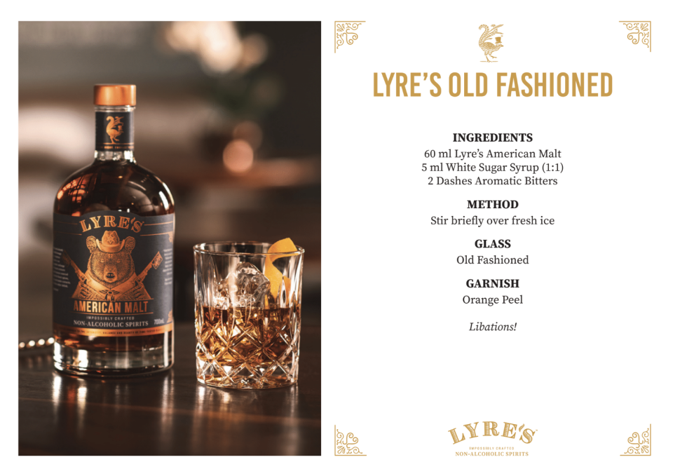 You don't have to give up drinking your Old Fashioned. Source: Supplied/Lyre's
