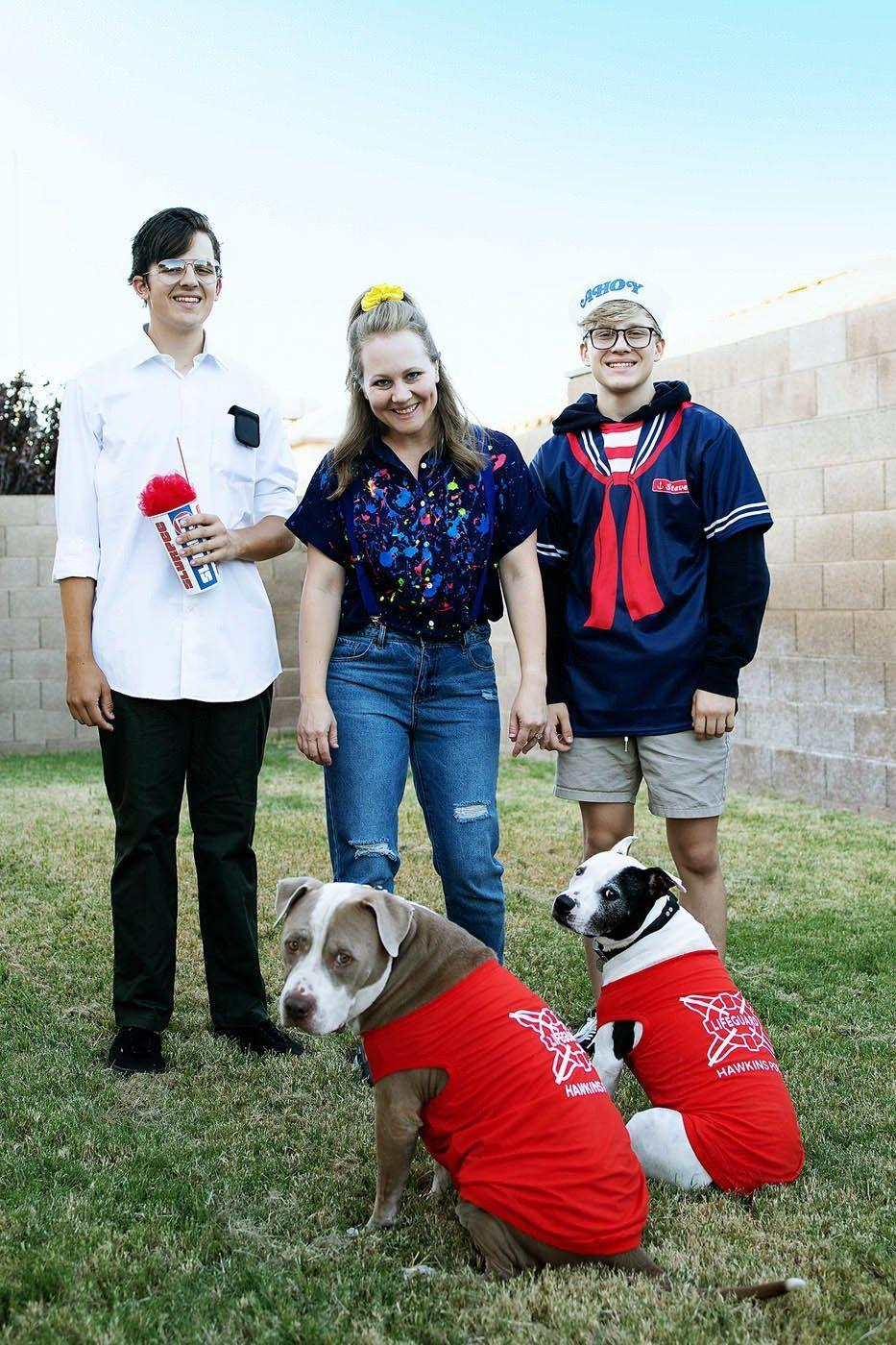 """<p>Here are clever costumes you can wear as a family that depict characters from the latest season of <em>Stranger Things.</em> Mom is donning Eleven's '80s-perfect outfit, the boys are dressed as Russian scientist Alexei and Steve in his Scoops Ahoy uniform—even the dogs got in on the fun in their Hawkins lifeguard T-shirts. </p><p><strong>Get the tutorial at <a href=""""https://allfortheboys.com/diy-stranger-things-3-family-costume-ideas/"""" rel=""""nofollow noopener"""" target=""""_blank"""" data-ylk=""""slk:All for the Boys"""" class=""""link rapid-noclick-resp"""">All for the Boys</a>. </strong></p><p><a class=""""link rapid-noclick-resp"""" href=""""https://www.amazon.com/Magicfly-Acrylic-Paint-Set-Multi-Surface/dp/B07P9Y1DJ8/?tag=syn-yahoo-20&ascsubtag=%5Bartid%7C10050.g.29398849%5Bsrc%7Cyahoo-us"""" rel=""""nofollow noopener"""" target=""""_blank"""" data-ylk=""""slk:SHOP ACRYLIC PAINT"""">SHOP ACRYLIC PAINT</a></p>"""