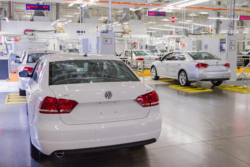 In this July 12, 2013, photo, Passat sedans are lined up to be tested at the Volkswagen plant in Chattanooga, Tenn. Efforts by the United Auto Worker to unionize the plant have raised concerns among southern Republicans, who worry that the move would hurt the region's ability to lure foreign automakers in the future. (AP Photo/Erik Schelzig)
