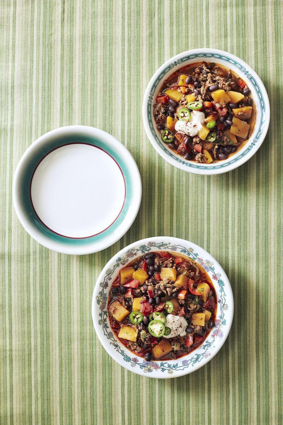 "<p>Pumpkin and chili go great together (see above.) For another dish featuring this sweet and savory dynamic duo, try this recipe that also features soft and tender beef.</p><p><em><a href=""http://www.countryliving.com/food-drinks/recipes/a6184/pumpkin-beef-black-bean-chili-recipe-clx1014/"" rel=""nofollow noopener"" target=""_blank"" data-ylk=""slk:Get the recipe from Country Living »"" class=""link rapid-noclick-resp"">Get the recipe from Country Living »</a></em></p>"