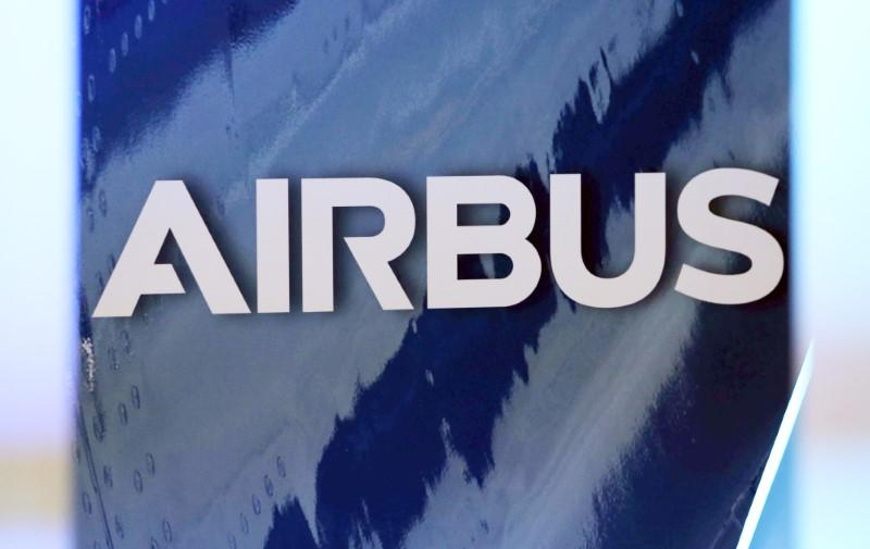 The logo of Airbus group is pictured in Colomiers