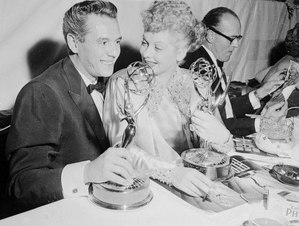 PHOTO: Desi and Lucy Arnaz are shown with their Emmy awards for the I Love Lucy Show. (Getty Images, FILE)