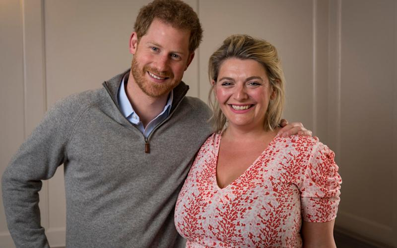 Bryony Gordon and Prince Harry meeting to do a podcast interview for the Heads Together campaign - Andrew Crowley