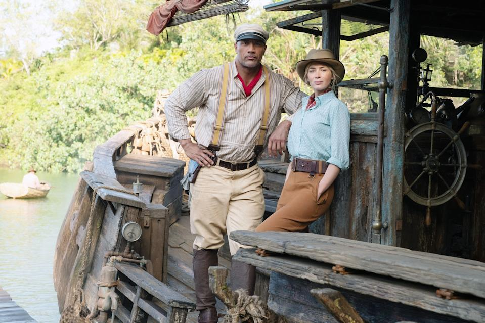 Dwayne Johnson and Emily Blunt in Jungle Cruise (Photo: Walt Disney Co./Courtesy Everett Collection)