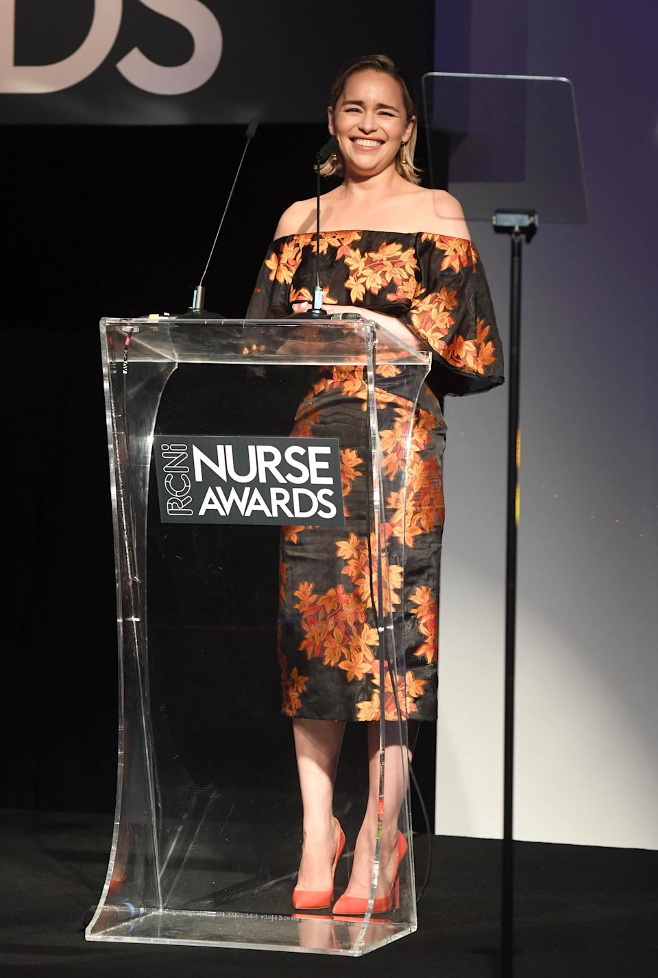 <p>On 4 July, 'Game of Thrones' actress Emilia Clarke introduced the Nurse Awards in a cold-shoulder floral dress accessorised with Tiffany & Co jewels. <em>[Photo: Getty]</em> </p>