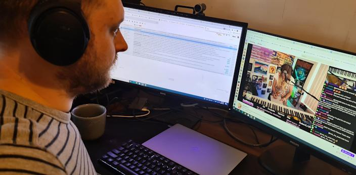 twitch exec lewis mitchell works on his computer