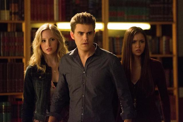 """After School Special"" -- Candice Accola as Caroline, Paul Wesley as Stefan, and Nina Dobrev as Elena"