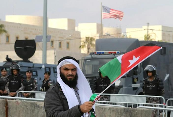 In this 2017 file photo, a man takes part in a demonstration by the Muslim Brotherhood and other groups outside the US embassy in Amman against Washington's declaration of Jerusalem as the capital of Israel (AFP Photo/Khalil MAZRAAWI)