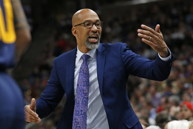 Phoenix Suns head coach Monty Williams reacts in front of his bench in the first half during an NBA basketball game against the Utah Jazz, Monday, Feb. 24, 2020, in Salt Lake City. (AP Photo/Rick Bowmer)