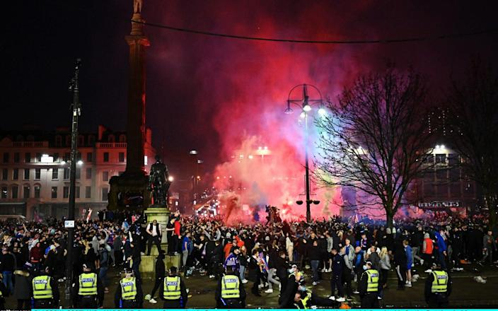 Rangers fans gather in George Square to celebrate the club winning the Scottish Premiership for the first time in 10 years - Jeff J Mitchell/Getty Images Europe