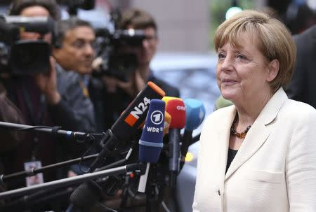 Germany's Chancellor Merkel arrives at an informal summit of European Union leaders in Brussels