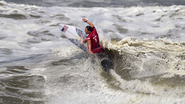 USA's Carissa Moore claimed the first-ever women's surfing gold medal. AP