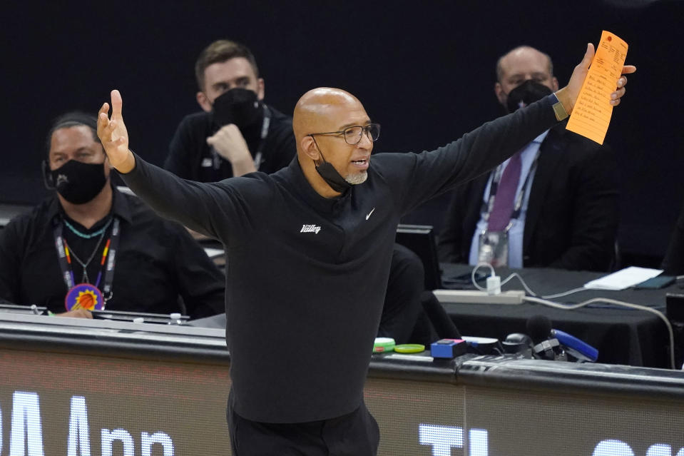 Phoenix Suns head coach Monty Williams gestures during the second half of Game 5 of basketball's NBA Finals between the Suns and the Milwaukee Bucks, Saturday, July 17, 2021, in Phoenix. (AP Photo/Matt York)
