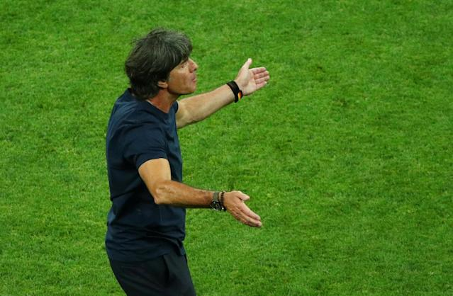 Soccer Football - World Cup - Group F - Germany vs Sweden - Fisht Stadium, Sochi, Russia - June 23, 2018 Germany coach Joachim Low reacts during the match REUTERS/Hannah McKay