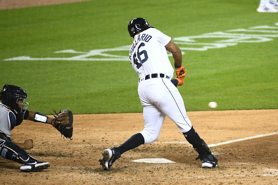 Tigers third baseman Jeimer Candelario hits a two-run double during the sixth inning against the Rays on Friday, Sept. 10, 2021, at Comerica Park.