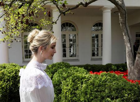 FILE PHOTO: Ivanka Trump walks in the Rose Garden after a  joint news conference between  U.S. President Donald Trump and Jordan's King Abdullah II at the White House in Washington, U.S., April 5, 2017. REUTERS/Kevin Lamarque/File Photo