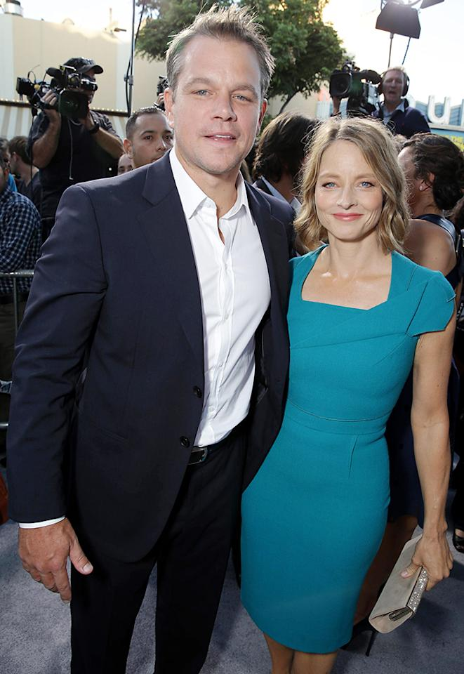 Matt Damon and Jodie Foster seen at The World Premiere of TriStar Pictures 'Elysium', on Wednesday, August, 7, 2013 in Westwood, Calif. (Photo by Eric Charbonneau/Invision for TriStar Pictures/AP Images)