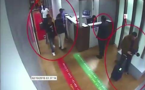 A frame grab allegedly shows suspects in the case of missing Saudi journalist Jamal Khashoggi (unseen) at Istanbul's Ataturk airport - Credit: AFP