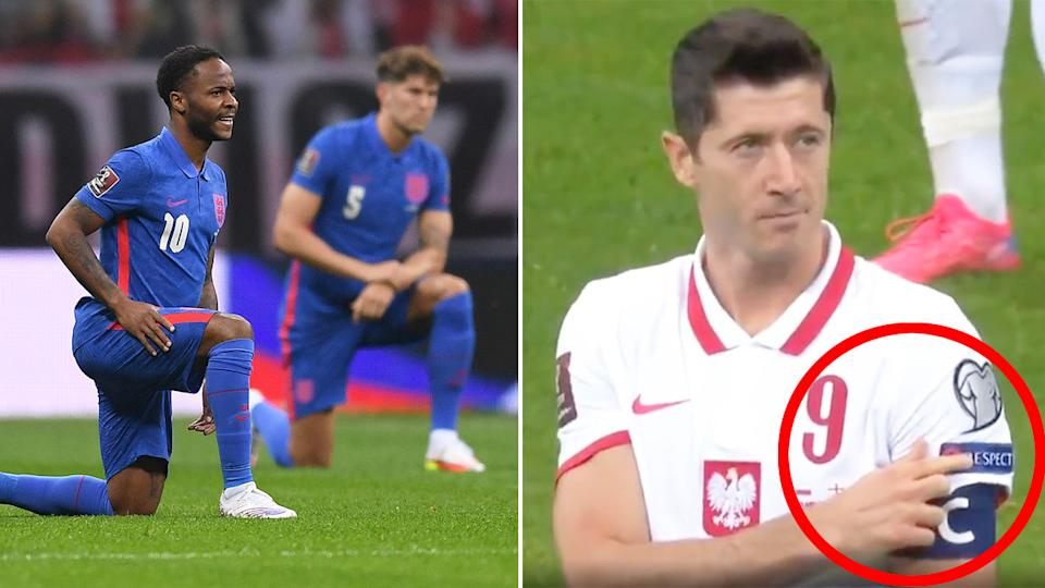 Seen here, Poland captain Robert Lewandowski calls for respect after England's players are booed by fans.