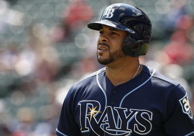 """<a class=""""link rapid-noclick-resp"""" href=""""/mlb/players/9842/"""" data-ylk=""""slk:Tommy Pham"""">Tommy Pham</a> says the Rays don't really have a fan base. (AP Photo/Mike Stone)"""