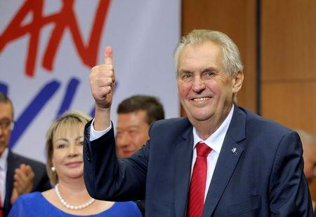 Czech President Milos Zeman reacts as he defeated pro-EU academic Jiri Drahos in the presidential election in Prague, Czech Republic