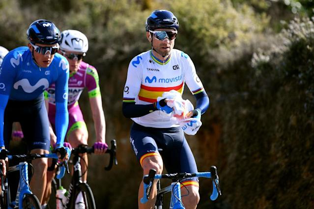 CULLERA SPAIN FEBRUARY 06 Alejandro Valverde of Spain and Movistar Team feeduring the 71st Volta a la Comunitat Valenciana 2020 Stage 2 a 181km stage from Torrent to Cullera 181m VueltaCV VCV2020 on February 06 2020 in Cullera Spain Photo by David RamosGetty Images
