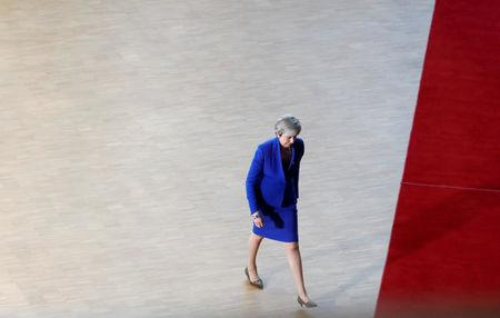 Britain's Prime Minister Theresa May arrives at an extraordinary European Union leaders summit to discuss Brexit, in Brussels, Belgium April 10, 2019.  REUTERS/Susana Vera