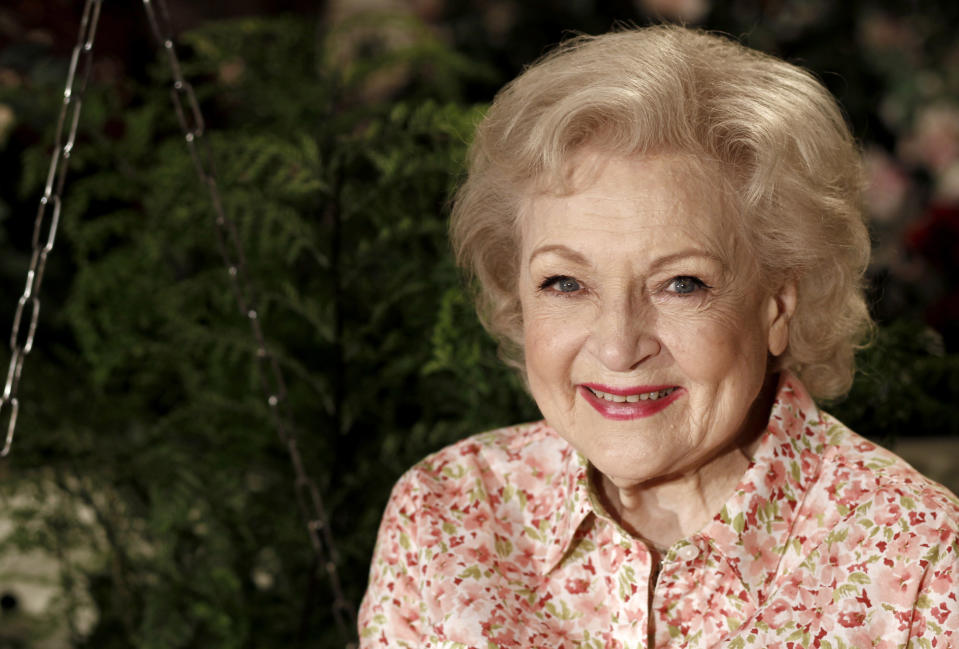 FILE - Actress Betty White poses for a portrait in Los Angeles on June 9, 2010. White will turn 99 on Sunday, Jan. 17. (AP Photo/Matt Sayles, File)