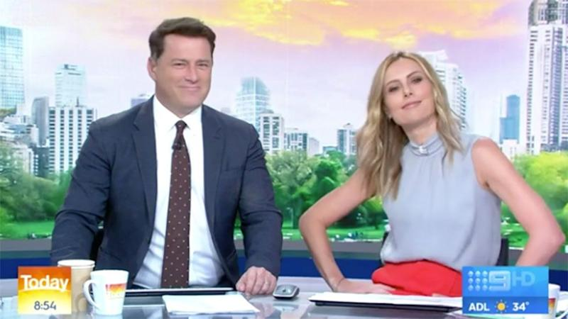 Karl Stefanovic and Ally Langdon appear on Today Ally dancing on right