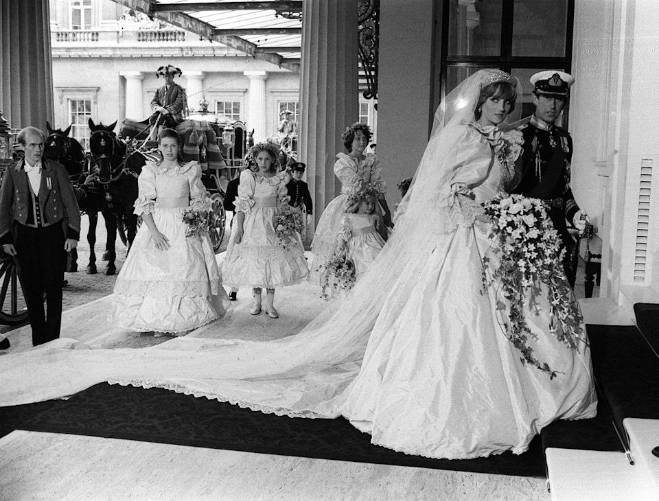<p>The newlyweds also arrived at the private entrance of Buckingham Palace for their reception, wedding party in tow.</p>
