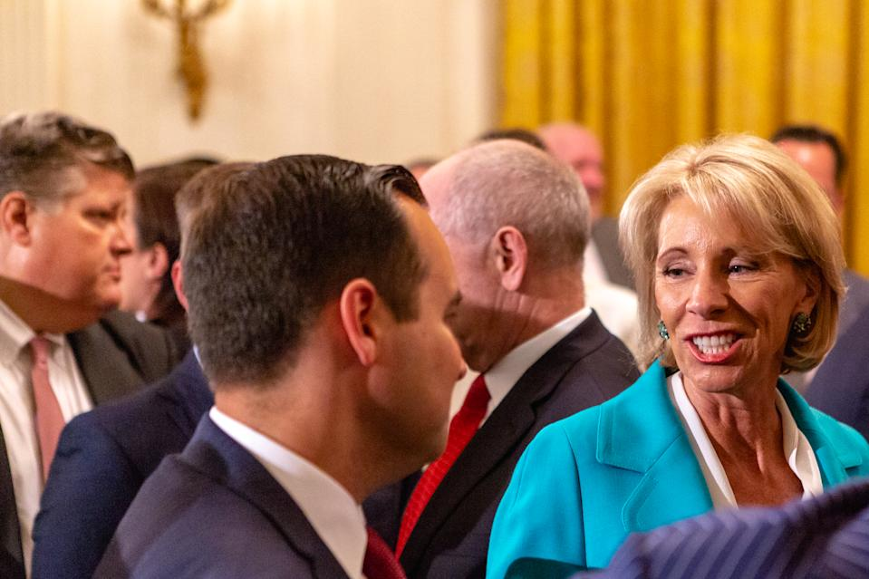 U.S. Secretary of Education Betsy DeVos, attends U.S. President Donald Trumps 'The Pledge To America's Workers' event in the East Room of the White House, in Washington, D.C. on Thursday, July 19, 2018  (Photo by Cheriss May/NurPhoto via Getty Images)