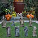 <p>Turn your lawn into a cemetery with these <span>Joyin Halloween Tombstone Yard Decorations</span> ($19, set of five).</p>