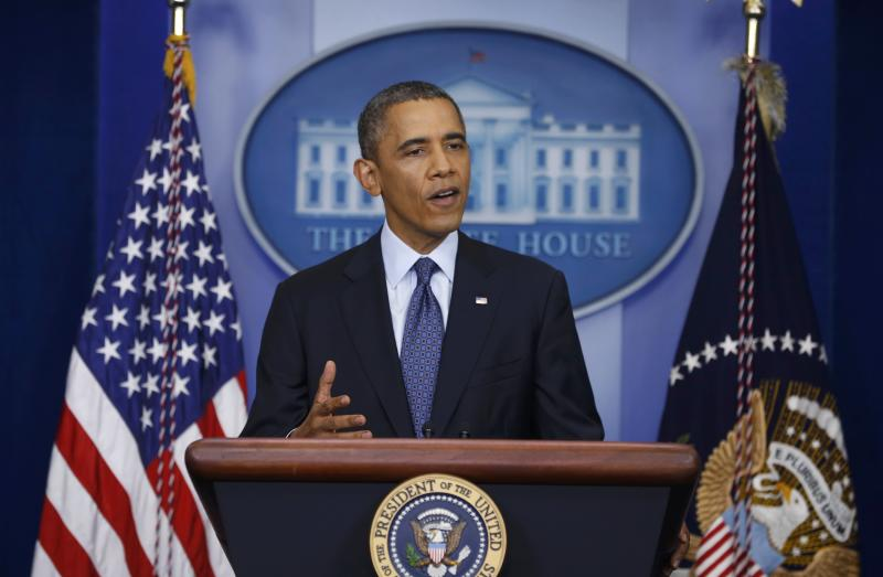 U.S. President Obama speaks from the White House Briefing Room in Washington