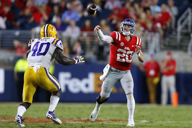 "Ole Miss officially objected to quarterback <a class=""link rapid-noclick-resp"" href=""/ncaaf/players/263176/"" data-ylk=""slk:Shea Patterson"">Shea Patterson</a>'s ""assessment of the conditions in the program"" that caused him to transfer, which could effect his transfer waiver appeal and cause him to miss the 2018 season at Michigan. (Getty Images)"