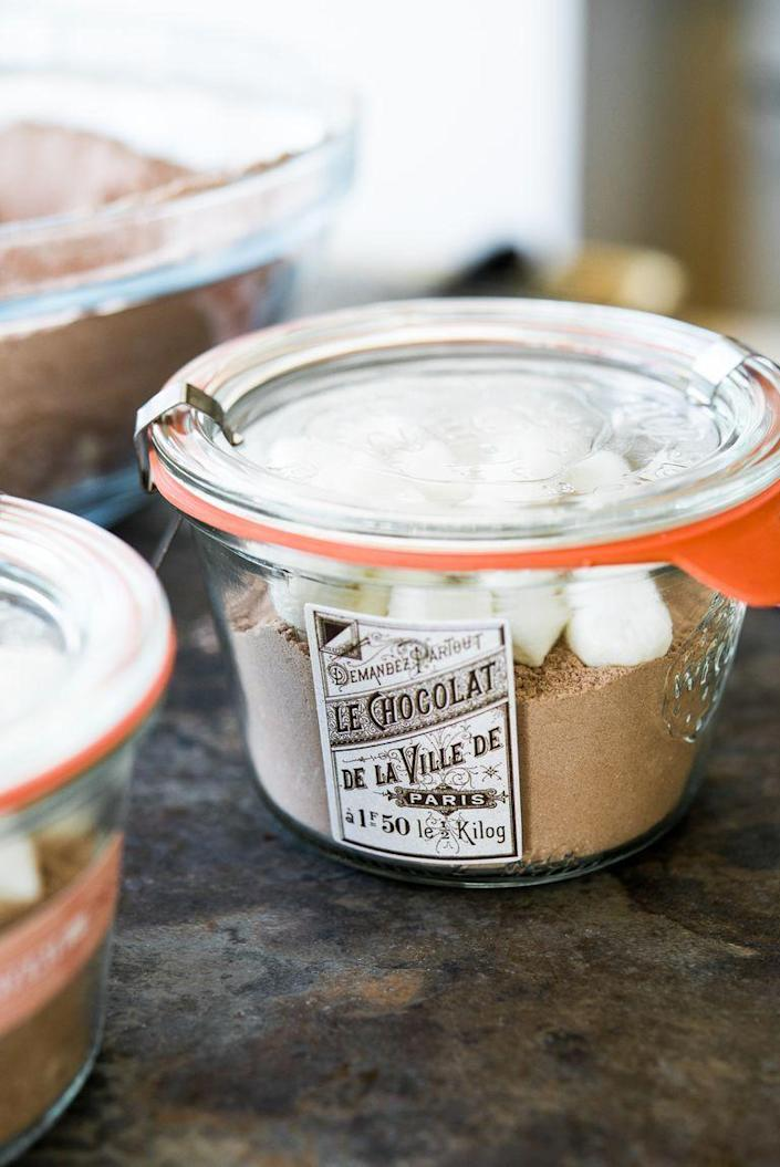 """<p>Here's an idea that couldn't be easier. Slip one of these hot cocoa mix jars into a gift bag, and she'll just need to boil water.</p><p><strong><a href=""""https://www.thepioneerwoman.com/food-cooking/recipes/a81118/how-to-make-hot-chocolate-mix/"""" rel=""""nofollow noopener"""" target=""""_blank"""" data-ylk=""""slk:Get the recipe."""" class=""""link rapid-noclick-resp"""">Get the recipe.</a></strong></p><p><a class=""""link rapid-noclick-resp"""" href=""""https://go.redirectingat.com?id=74968X1596630&url=https%3A%2F%2Fwww.walmart.com%2Fsearch%2F%3Fquery%3Dmason%2Bjars&sref=https%3A%2F%2Fwww.thepioneerwoman.com%2Fholidays-celebrations%2Fgifts%2Fg32307619%2Fdiy-gifts-for-mom%2F"""" rel=""""nofollow noopener"""" target=""""_blank"""" data-ylk=""""slk:SHOP JARS"""">SHOP JARS</a> </p>"""