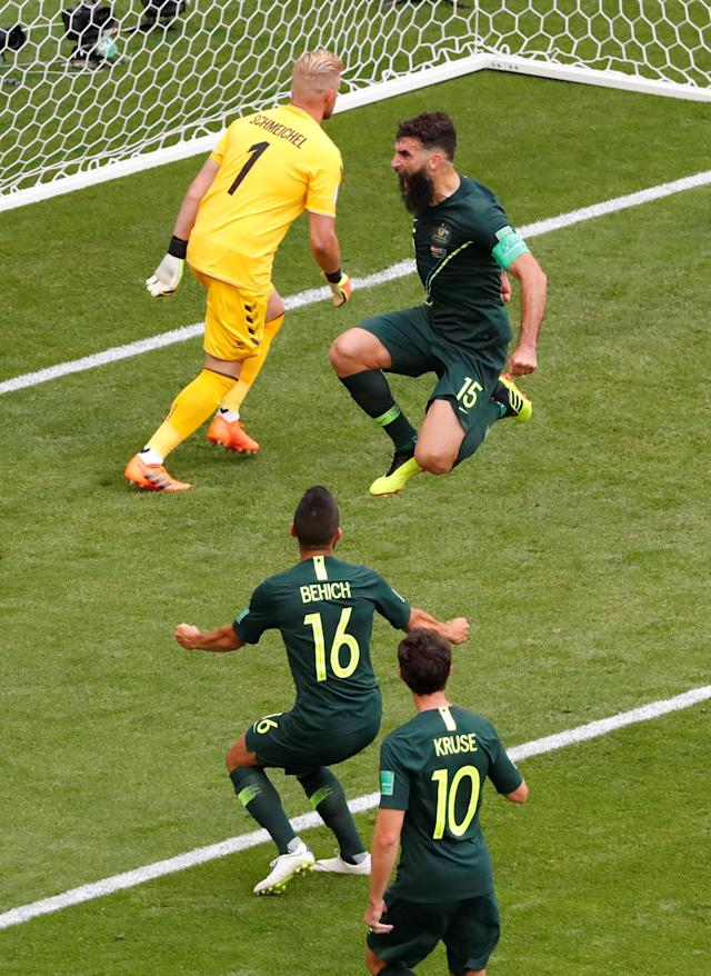 Soccer Football - World Cup - Group C - Denmark vs Australia - Samara Arena, Samara, Russia - June 21, 2018 Australia's Mile Jedinak celebrates scoring their first goal REUTERS/David Gray TPX IMAGES OF THE DAY