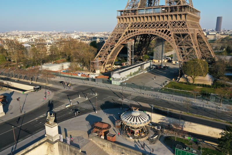 FILE PHOTO: Aerial view of empty streets around monuments in Paris during coronavirus disease outbreak