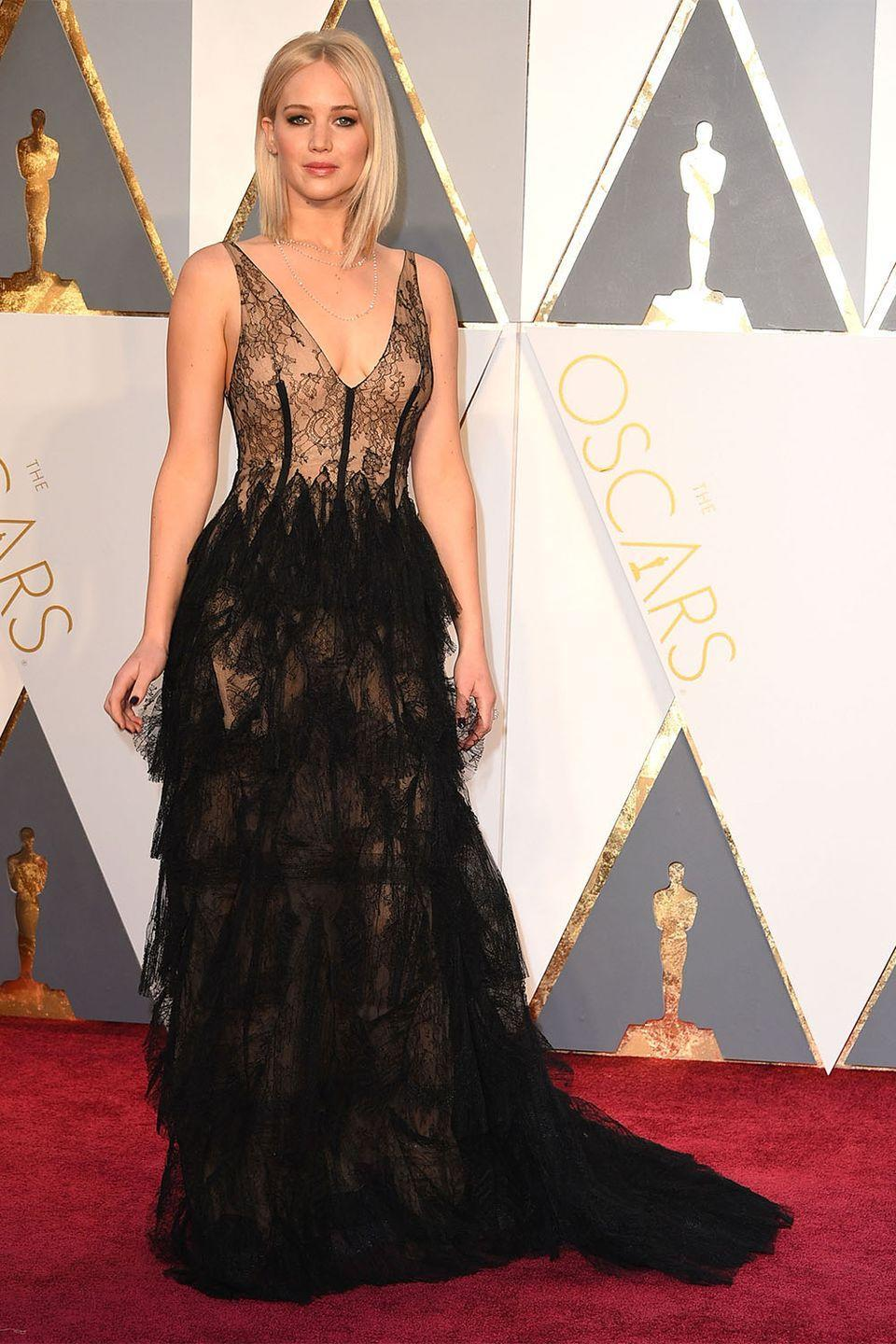 <p>Jennifer Lawrence and Dior have been a match made in sartorial heaven since the two began working together in 2012. This lace and tulle confection which she wore for her <em>Joy </em>nomination was another one for the books. </p>