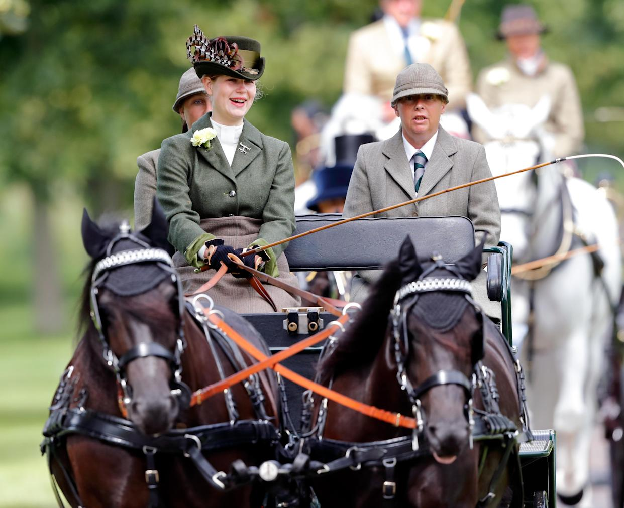 WINDSOR, UNITED KINGDOM - JULY 04: (EMBARGOED FOR PUBLICATION IN UK NEWSPAPERS UNTIL 24 HOURS AFTER CREATE DATE AND TIME) Lady Louise Windsor takes part in 'The Champagne Laurent-Perrier Meet of The British Driving Society' on day 4 of the Royal Windsor Horse Show in Home Park, Windsor Castle on July 4, 2021 in Windsor, England. (Photo by Max Mumby/Indigo/Getty Images)