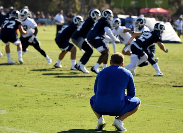 Sean McVay (crouched) is wielding the lessons he learned last February as the Rams embark on a season with Super Bowl championship expectations. (Getty)