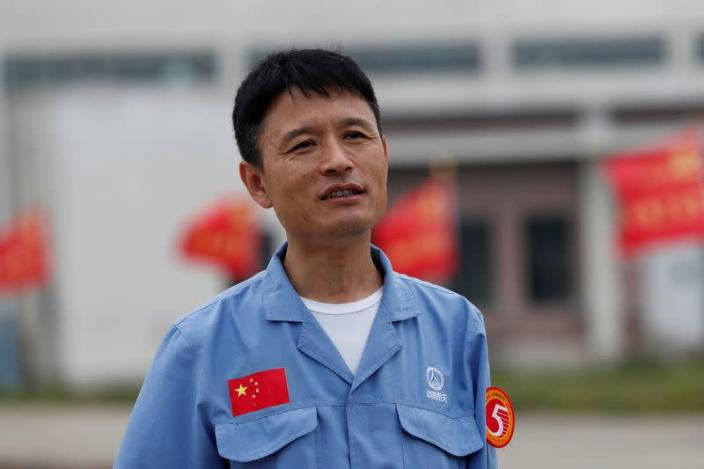 Qu Yiguang, Deputy Commander of the Long March-5 carrier rocket, speaks to the media before the launch by the Long March-5 Y5 rocket, at Wenchang Space Launch Center in Hainan