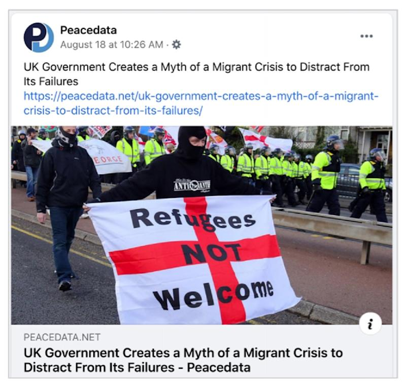An example of a Facebook post from a Russian network of fake accounts designed to influence UK political debate