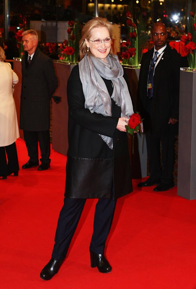 "BERLIN, GERMANY - FEBRUARY 14:  Actress Meryl Streep attends ""The Iron Lady"" Premiere during day six of the 62nd Berlin International Film Festival at the Berlinale Palast on February 14, 2012 in Berlin, Germany.  (Photo by Christine Pettinger/Getty Images)"