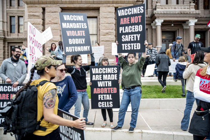 People protest against vaccines in Austin, Texas, on April 18, 2020. (Sergio Flores / Getty Images file)