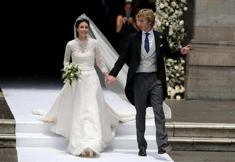 Alessandra de Osma and Prince Christian of Hanover on their wedding day in 2018 (Getty Images)