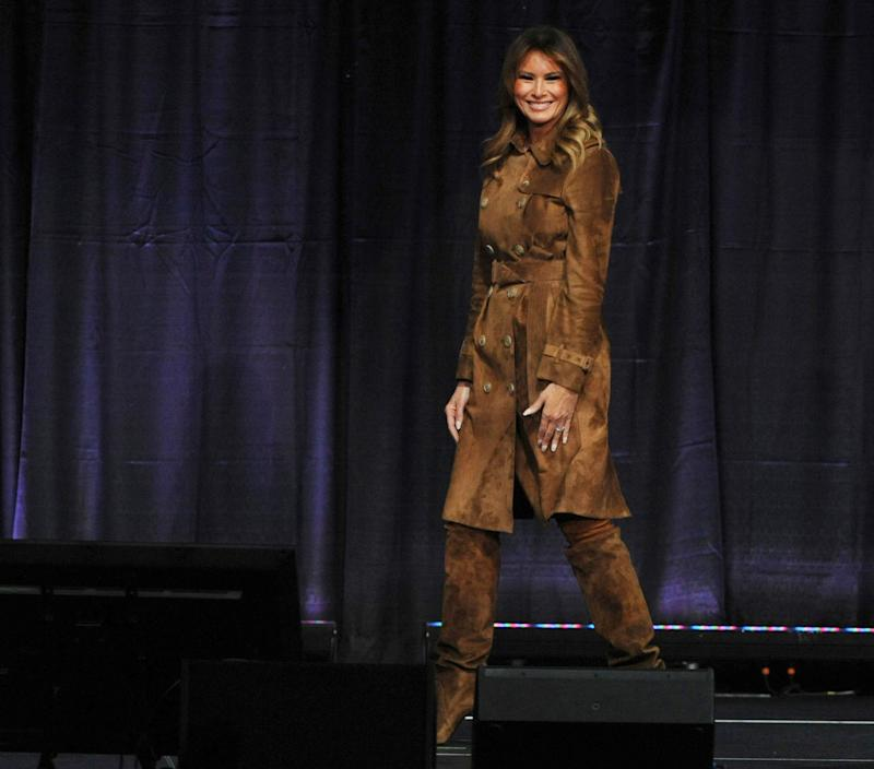 First lady Melania Trump after speaking at the B'More Youth Summit, Nov. 26, 2019, at the University of Maryland in Baltimore. She was greeted by cheers and boos as she urged students to avoid misusing drugs.