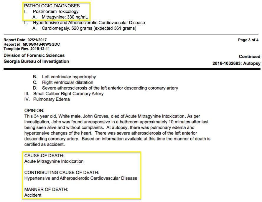 """A screenshot of John Grove's autopsy report, saying he died of """"acute mitragynine intoxication."""" (Photo: Georgia Bureau of Investigation)"""